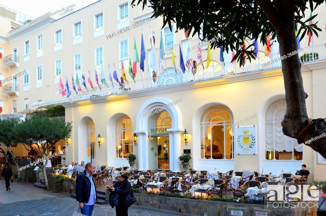 Stock Photo: Italy, Campania, Capri Island, Via Camerelle, Grand Hotel Quisisana.
