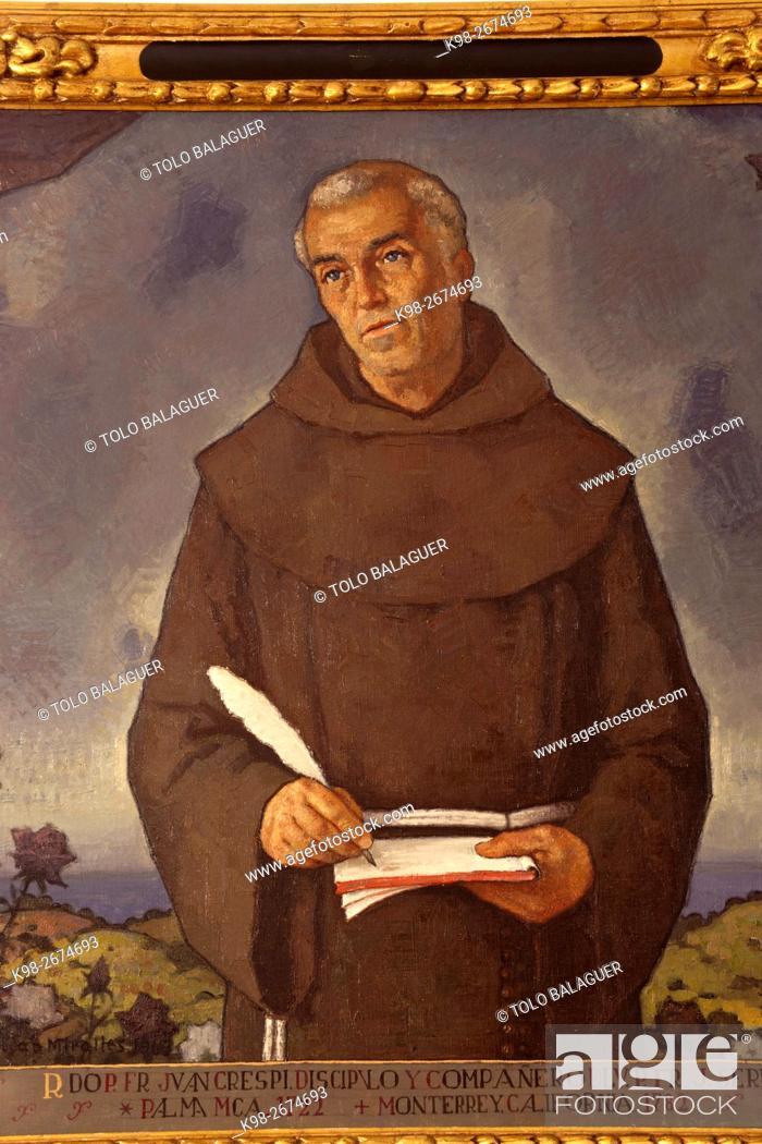 Stock Photo: Reverendo fray Juan Crespi. Juan Miralles, oleo sobre tela. Museo de Fray Junípero Serra. Petra. Majorca, Balearic Islands, Spain.