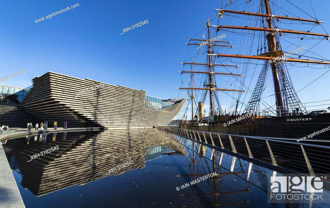 Stock Photo: Exterior of the new V&A Museum and RRS Discovery ship at Discovery Point in Dundee , Scotland, UK.