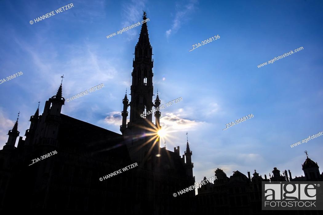 Stock Photo: Silhouet of the Grand Place, Brussels, Belgium, Europe.