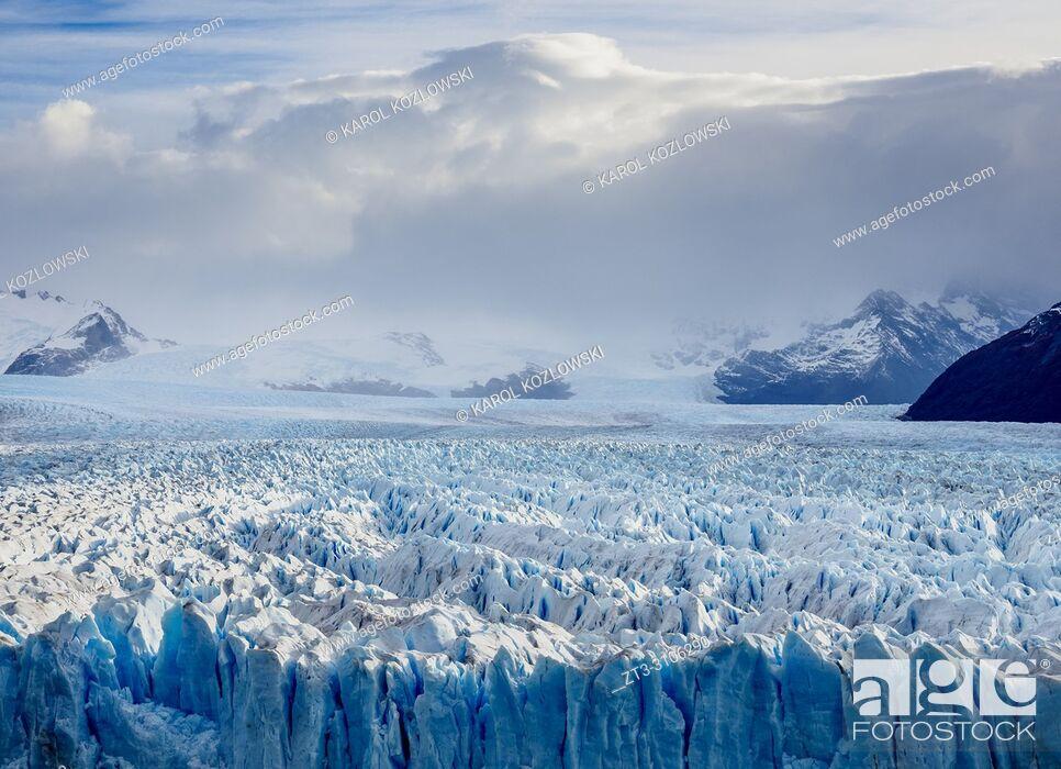 Stock Photo: Perito Moreno Glacier, elevated view, Los Glaciares National Park, Santa Cruz Province, Patagonia, Argentina.