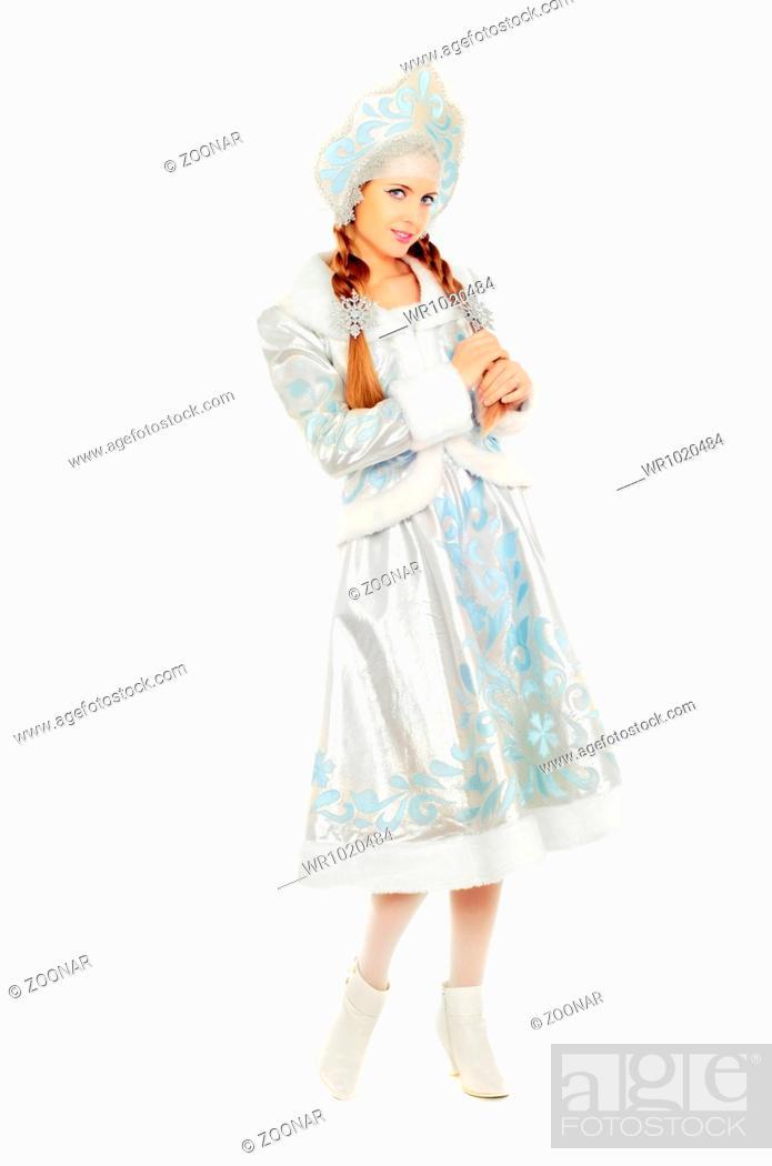 Stock Photo: Happy beautiful Snow Maiden.