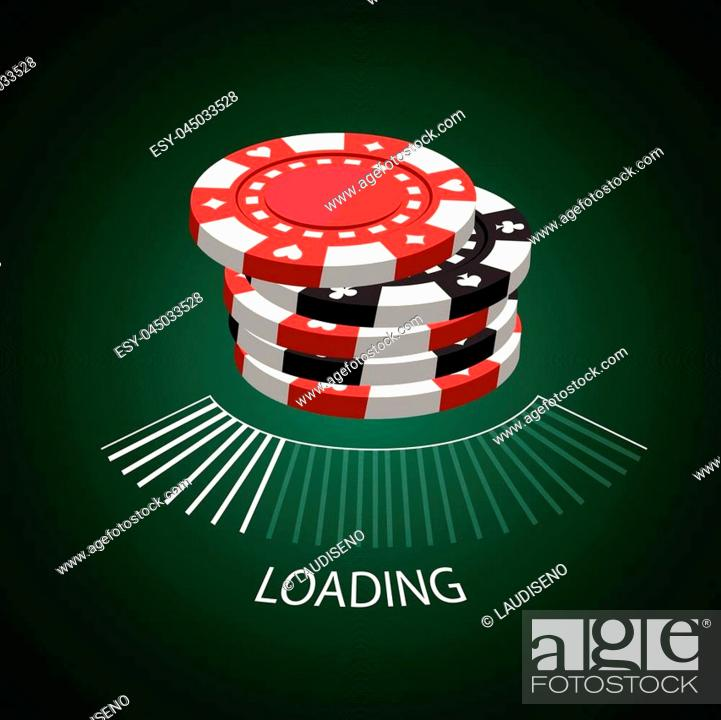 Stock Vector: Set of casino coins and a loading screen, Vector illustration.