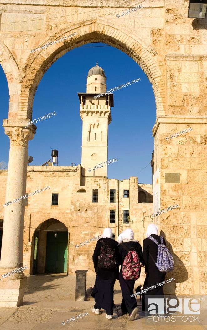 Stock Photo: Muslim students, Temple Mount, Jerusalem, Israel.