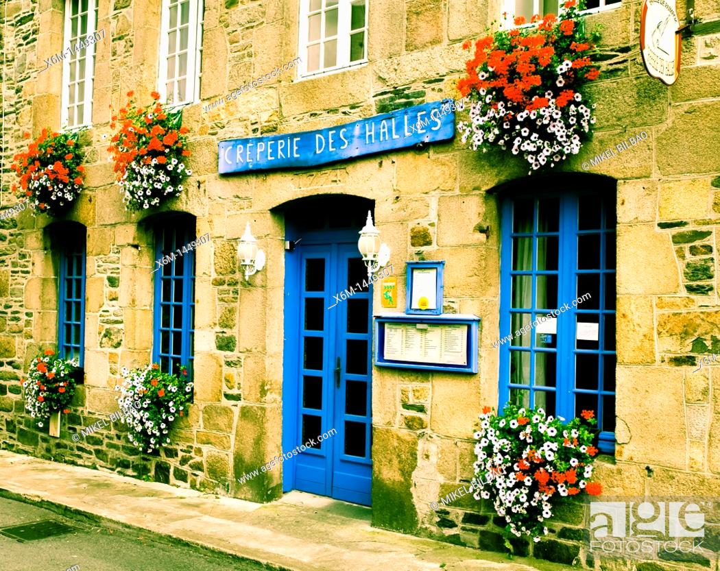 Stock Photo: Pancake restaurant facade  Tréguier Breton: Landreger is a port town in the Côtes-d'Armor department in Bretagne in northwestern France.