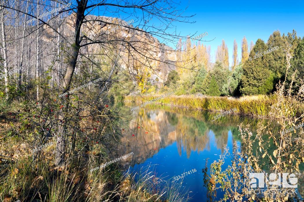 Stock Photo: Riaza river. Valdevacas de Montejo. Segovia. Castilla Leon. Spain. Europe.