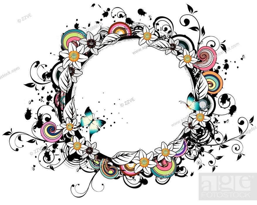 Stock Photo: Oval Shape with flora elements.