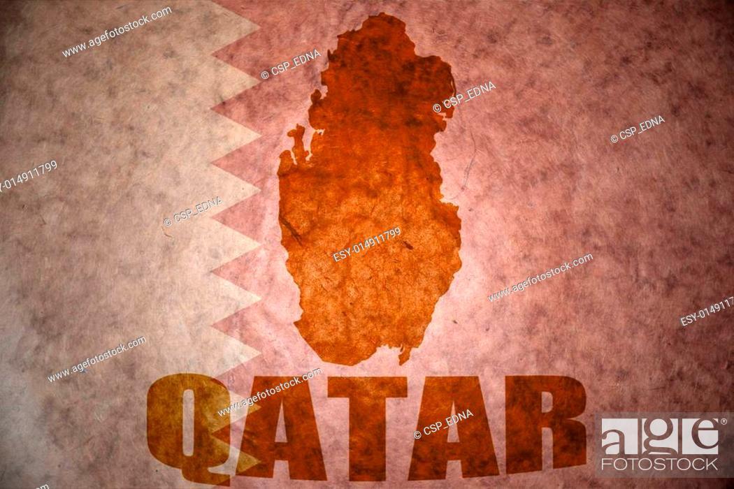 Stock Photo: qatar vintage map.