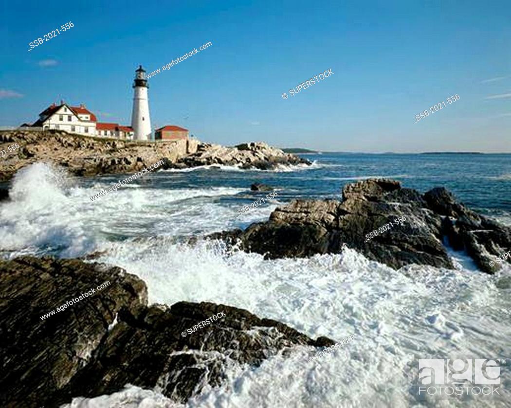 Stock Photo: Portland Head Lighthouse Cape Elizabeth Maine USA.
