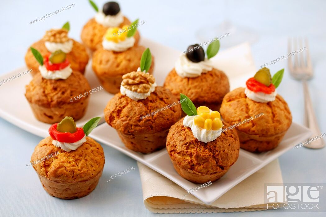 Stock Photo: Savory cupcakes with cheese and pumpkin.