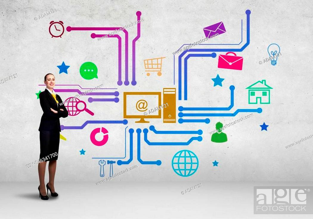 Stock Photo: Businesswoman and color application icons at background.