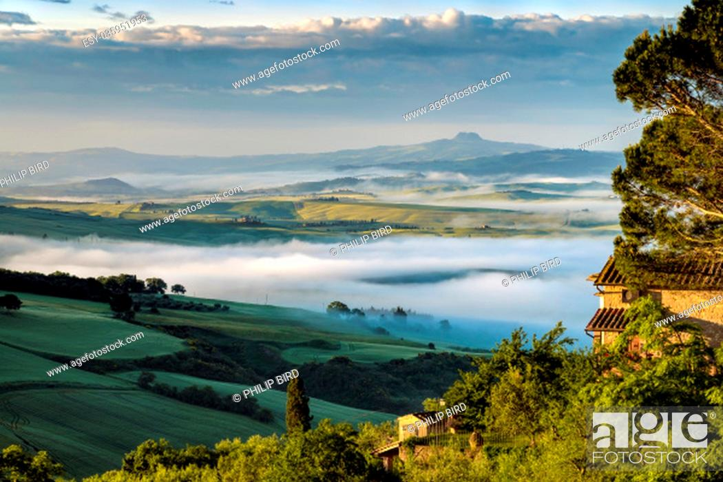 Stock Photo: Sunrise over Val d'Orcia.