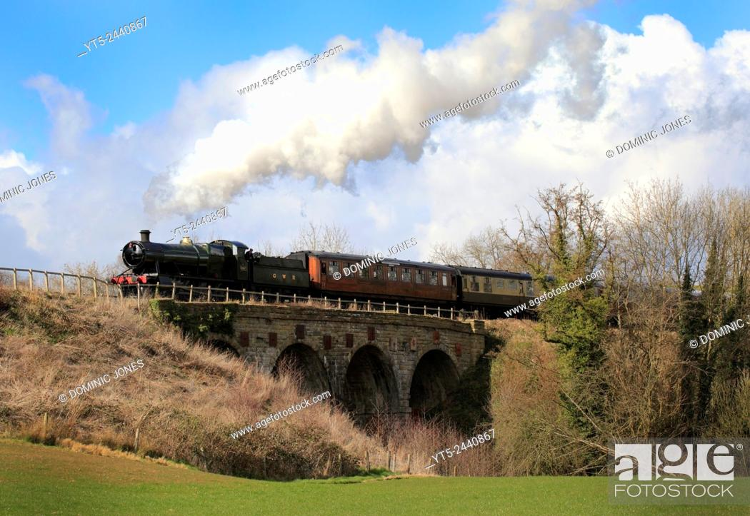 Stock Photo: GWR Heavy Freight 2857 crosses Borle Viaduct near Highley, Severn Valley Railway, Shropshire, England, Europe.