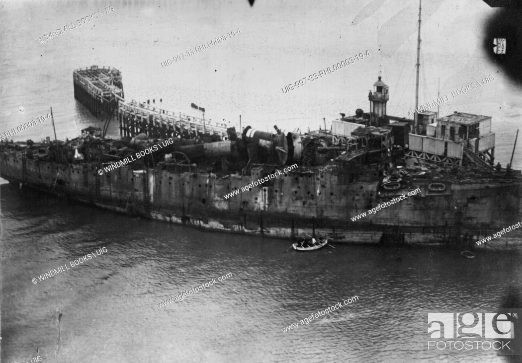 Stock Photo: HMS Vindictive at Ostend, 14th May, 1918. Sunk as blockship on the 10th. .