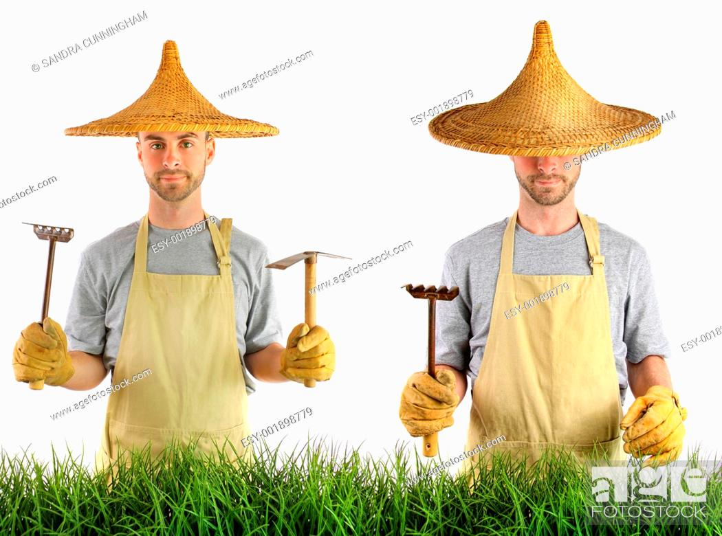 Stock Photo: Man with Asian straw hat.