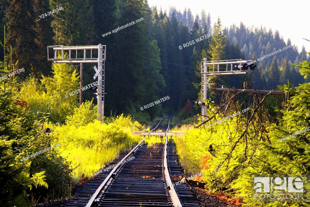 Stock Photo: Old abandoned railroad track in north Idaho, USA.