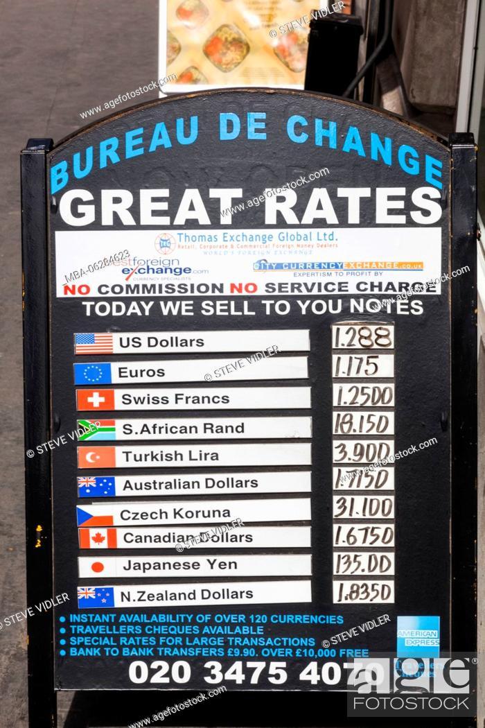 Stock Photo England London Bureau De Change Foreign Exchange Rate Board
