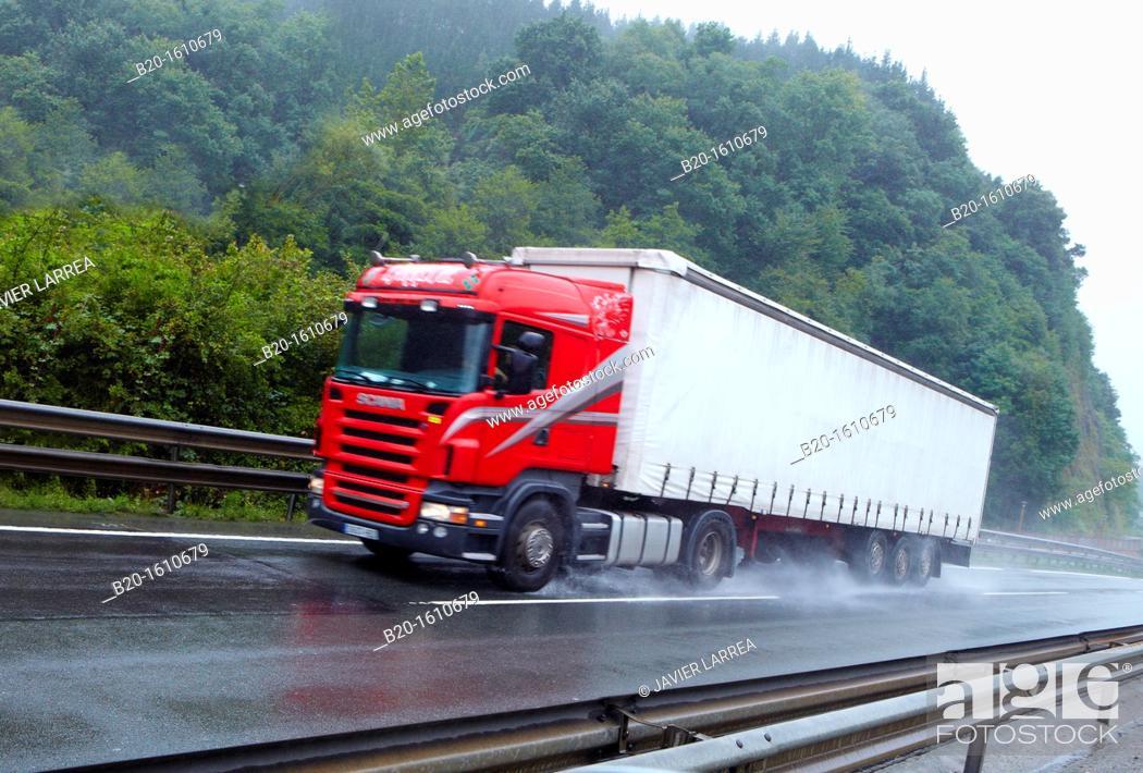 Stock Photo: Truck, transport, Highway N1,Tolosa, Gipuzkoa, Basque Country, Spain.