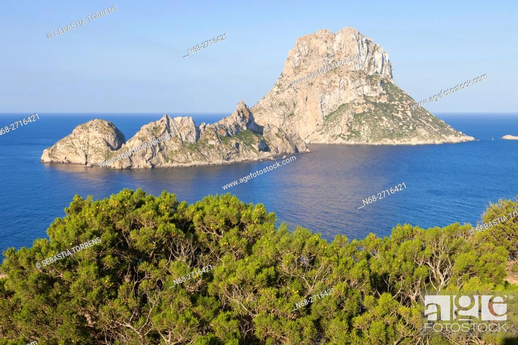 Stock Photo: Es Vedra and Es Vedranell as seen from Ibiza, Spain.