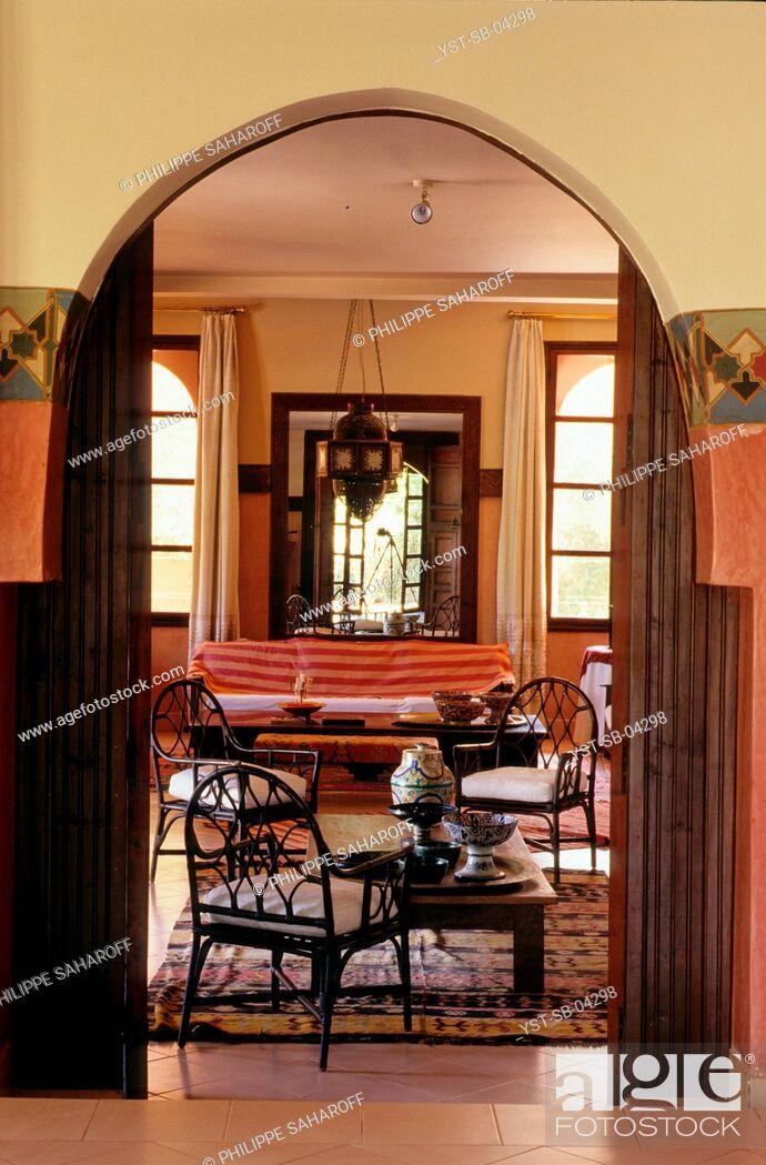 Stock Photo: Living room, Riad Tasmna, Marrakech, Morocco, Africa.