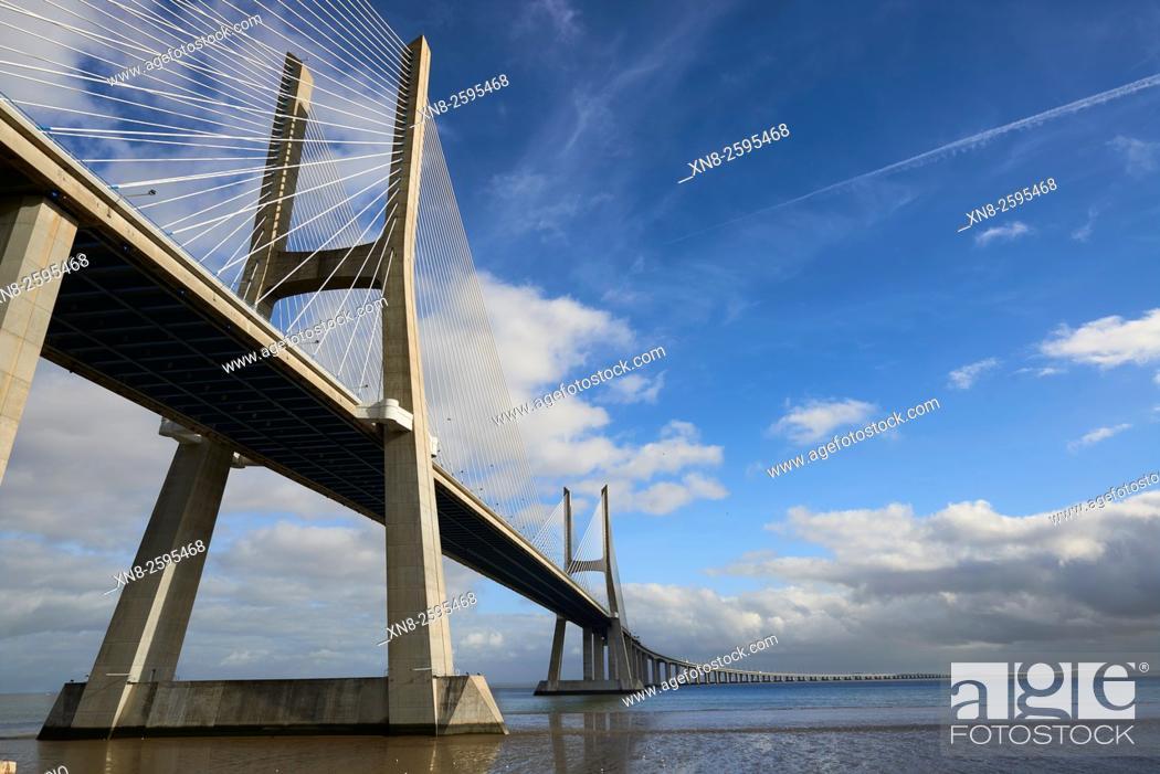 Stock Photo: Vasco da Gama bridge over the Rio Tejo river in the Parque das Nações park, site of the Expo 98, Lisbon, Portugal, Europe.