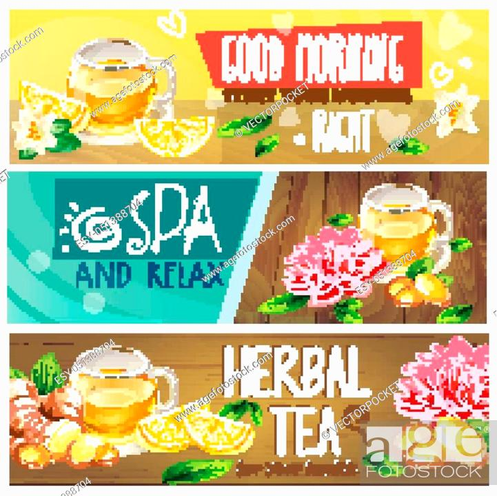 Set Of Good Morning Spa And Relax Herbal Tea Horizontal Vector Banners With Teacup Stock Vector Vector And Low Budget Royalty Free Image Pic Esy 051388704 Agefotostock