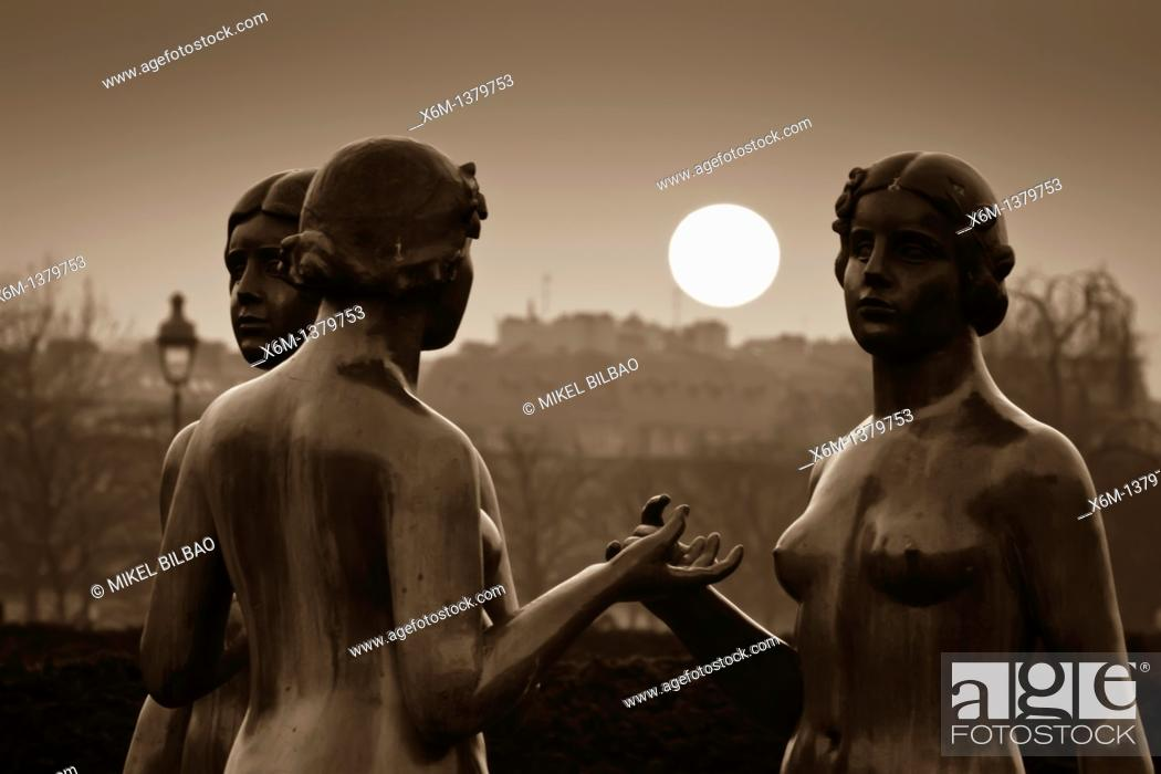 Stock Photo: Sculptures at sunset from Tuileries Garden  Paris, France.