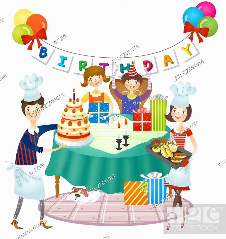 Stock Photo: Preparation of children birthday celebration.