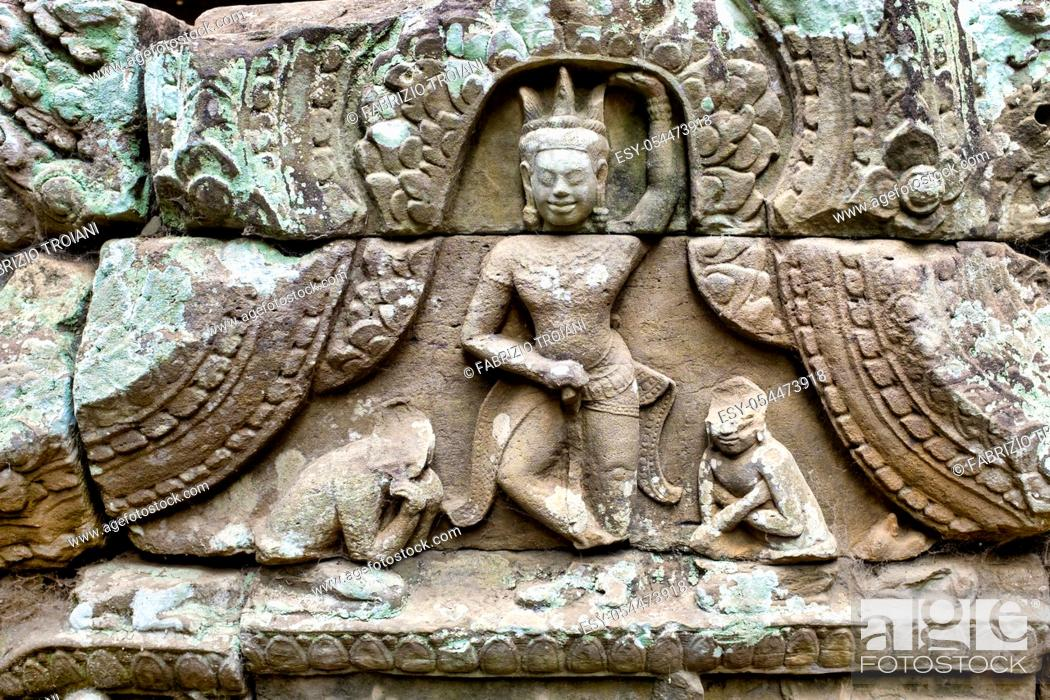 Stock Photo: Bas-relief in Prasat Bayon, Angkor Thom, Siem Reap, Cambodia, .
