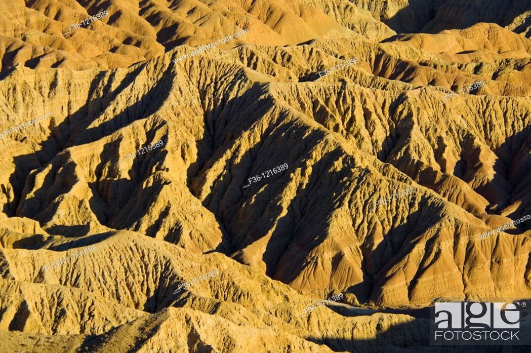 Stock Photo: Sunset light on eroded hills at the Borrego Badlands, from Fonts Point, Anza Borrego Desert State Park, San Diego County, California.