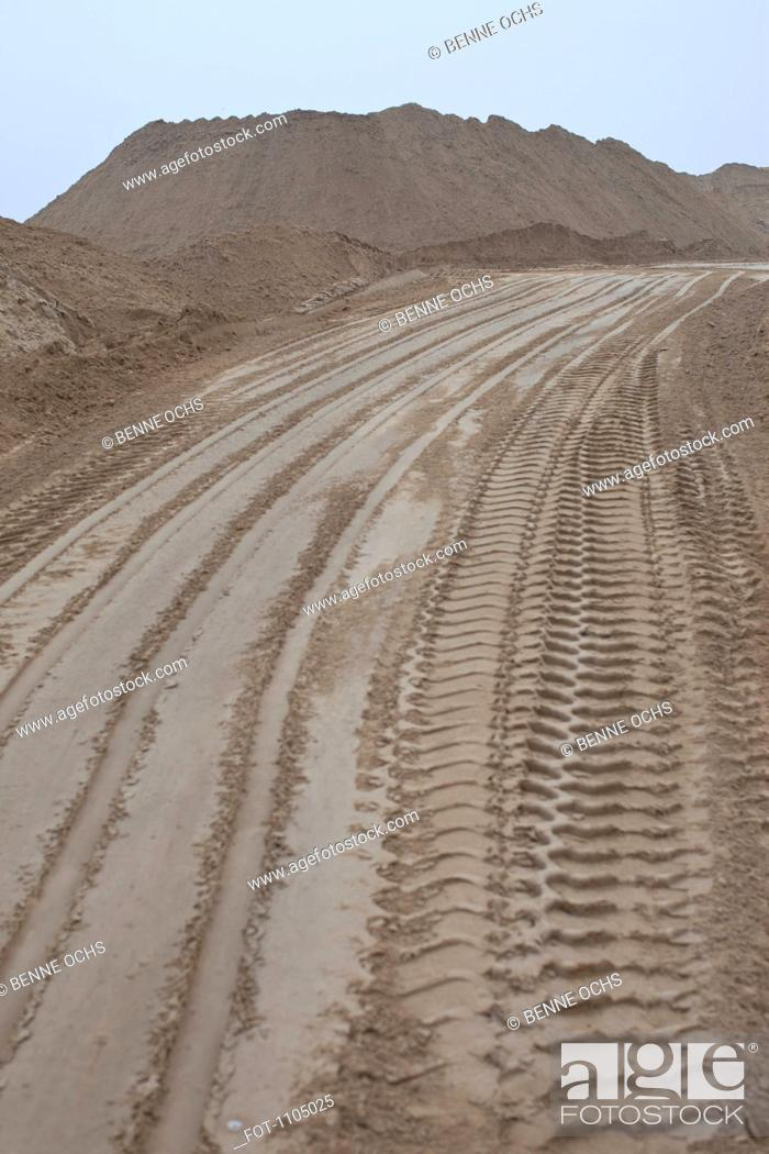 Stock Photo: A dirt road at a quarry.