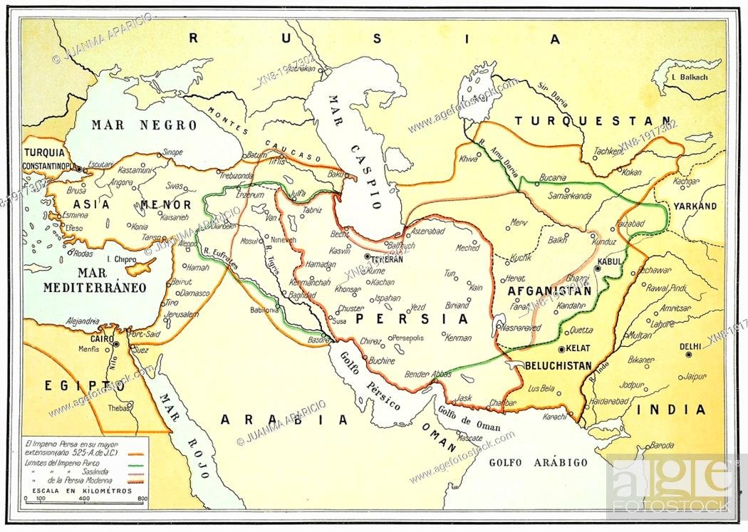Ancient and modern map of Persia on 1920, Stock Photo, Picture And ...