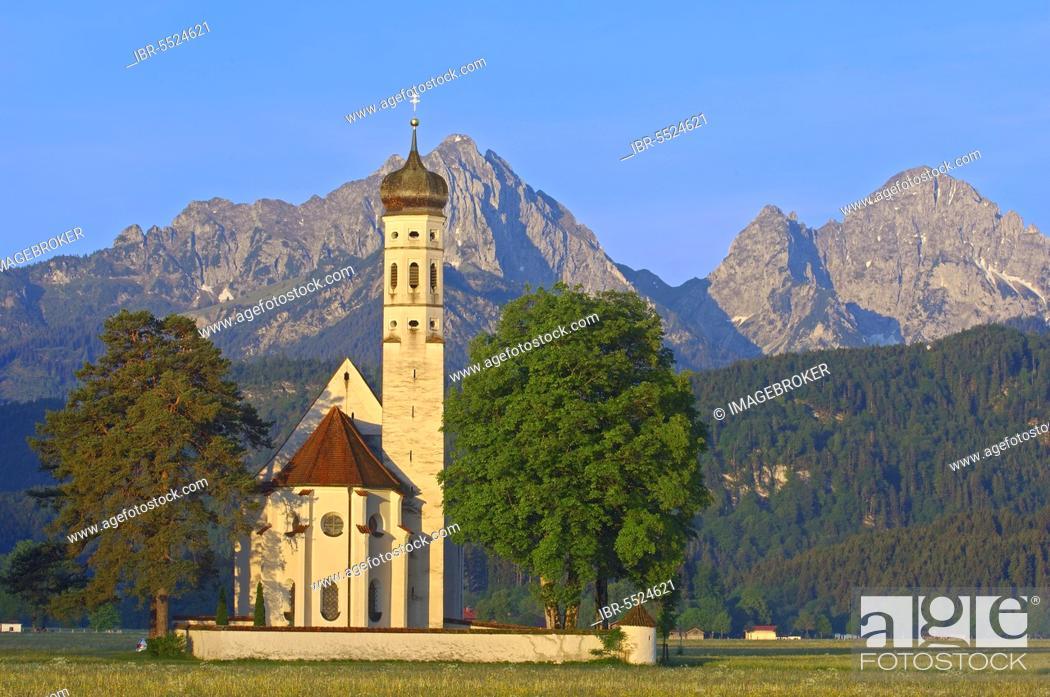 Stock Photo: Füssen, Allgäu, St. Coloman Church, Romantic Road, Romantic Road, Bavaria, Germany, Europe.