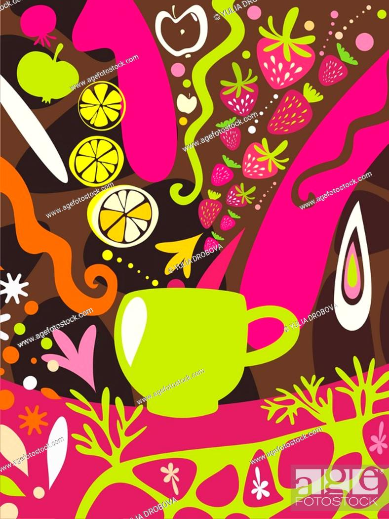 Stock Photo: An illustration about fruit juice with a mug and an assortment of fruit pouring in.