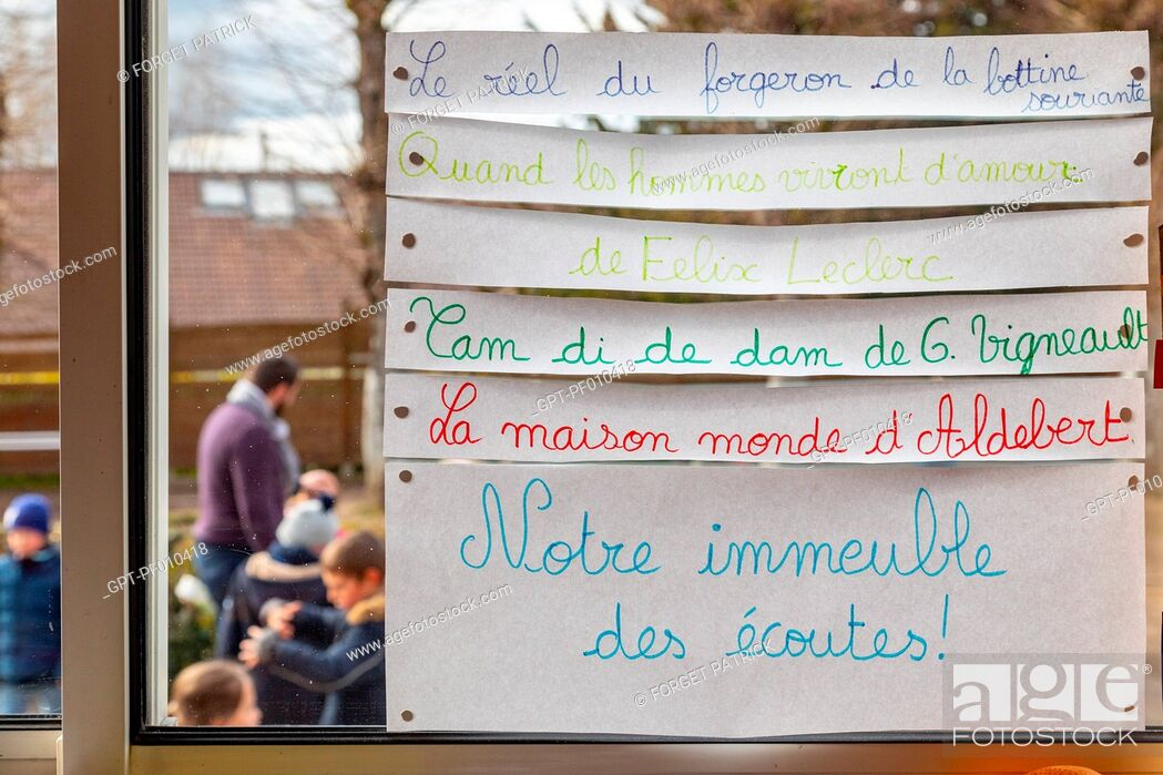 Stock Photo: IMMEUBLE DES ECOUTES (BUILDING OF LISTENING) TO LEARN SONGS AND LISTENING TO MUSIC IN CLASS, PRIMARY SCHOOL IN THE TOWN OF RUGLES, EURE, NORMANDY, FRANCE.