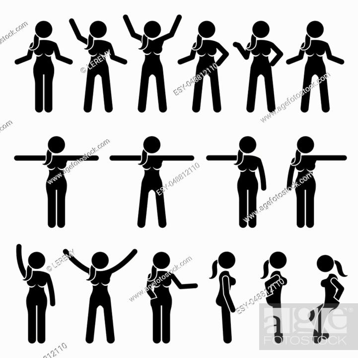 Artworks Depict A Female Human Standing In Various Positions With Different Body Languages Stock Vector Vector And Low Budget Royalty Free Image Pic Esy 048812110 Agefotostock