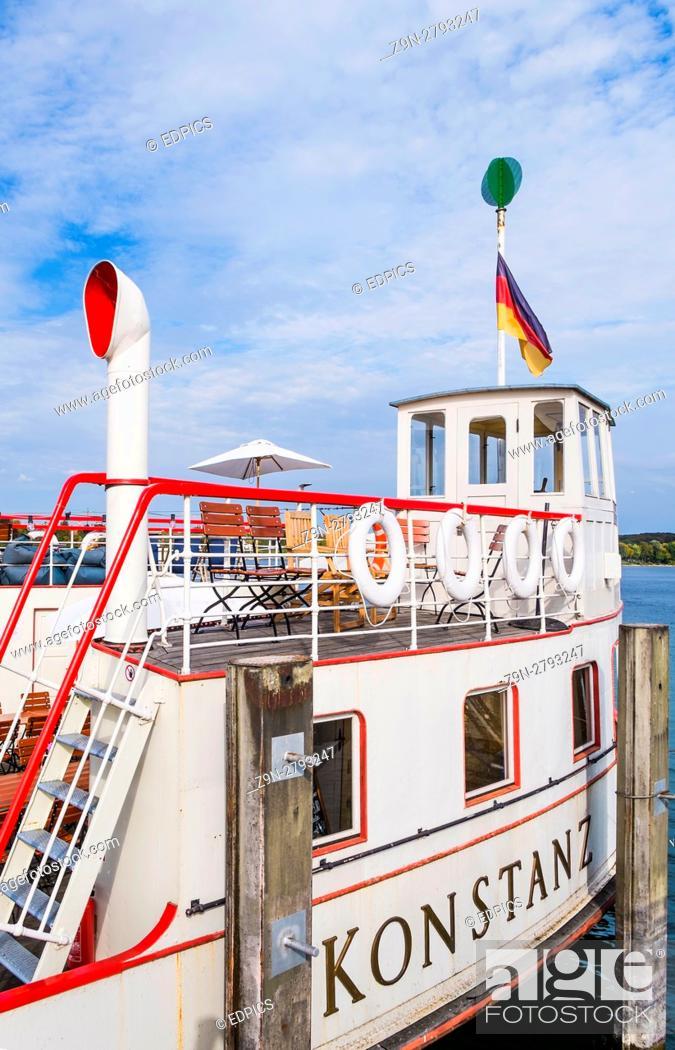 "Stock Photo: motorship """"konstanz"""", harbour, lake constance, ."