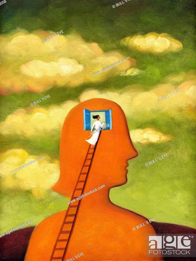 Stock Photo: A woman on a ladder looking through a window into her head.