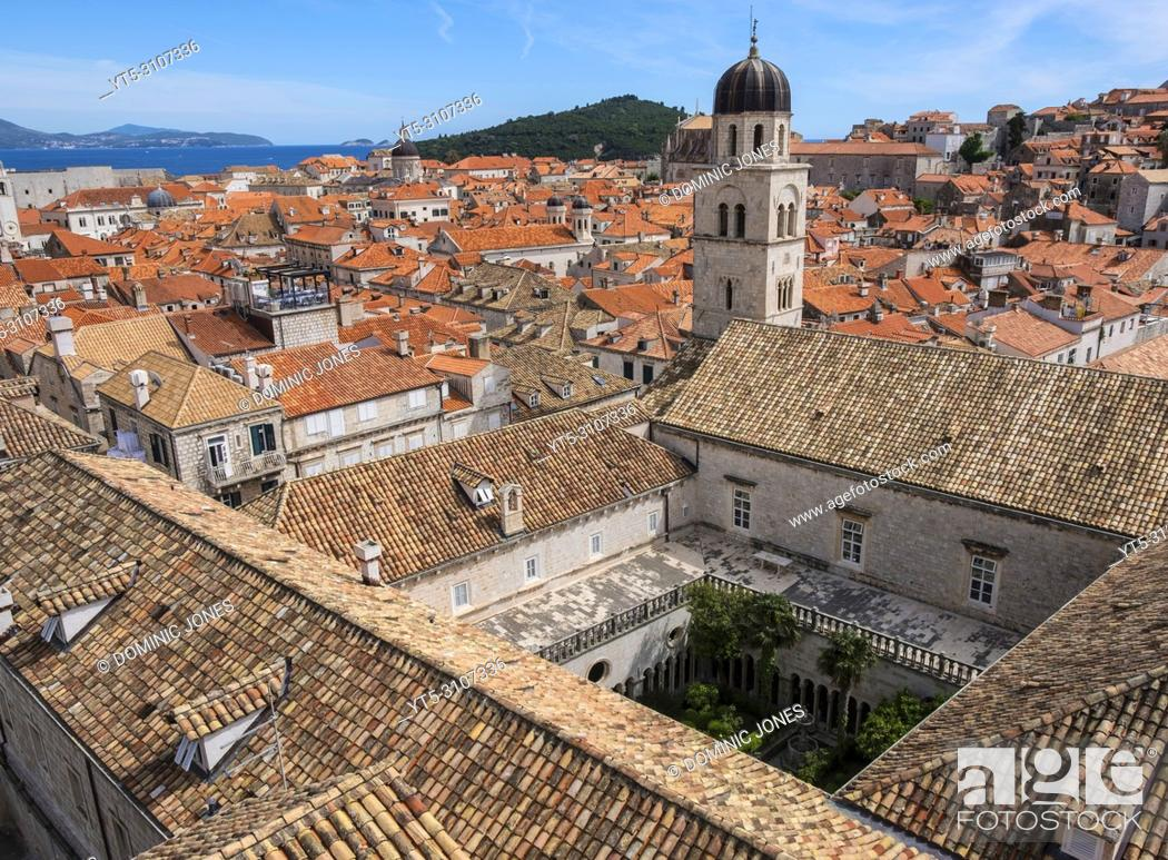 Stock Photo: The rooftops of The Franciscan Church and Monastery and Dubrovnik's Old Town, Dubrovnik, Croatia, Europe.