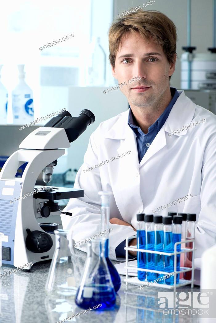Stock Photo: Scientist in laboratory, portrait.