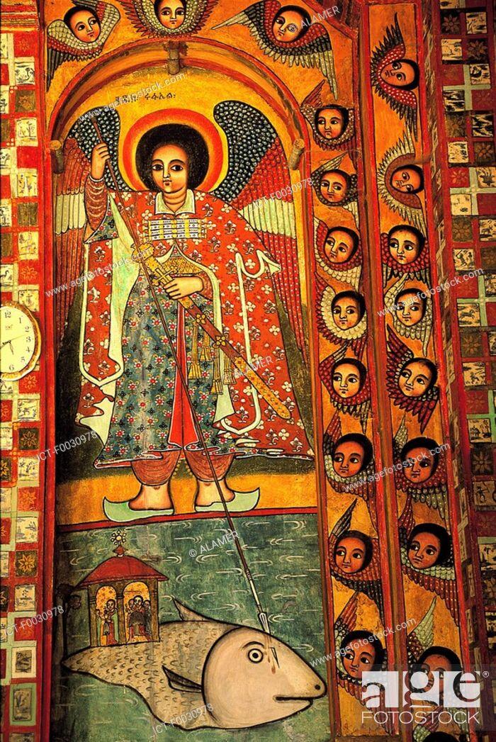 Stock Photo: Ethiopia, lake Tana, Nerga Selessie monastery, inside fresco.