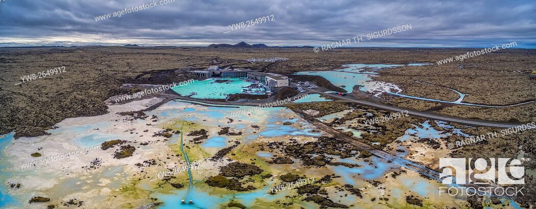 Stock Photo: Aerial view of The Blue Lagoon and the lava landscape. Iceland. This image is shot with a drone.