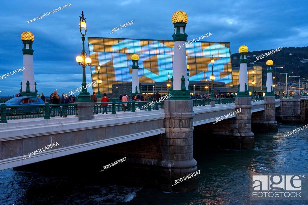 Stock Photo: Kursaal Bridge, Urumea River, Kursaal Palace, Donostia, San Sebastian, Gipuzkoa, Basque Country, Spain, Europe.