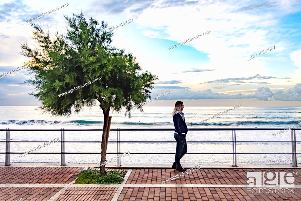 Stock Photo: Pregnant woman enjoying the coastline of Gran Canaria.