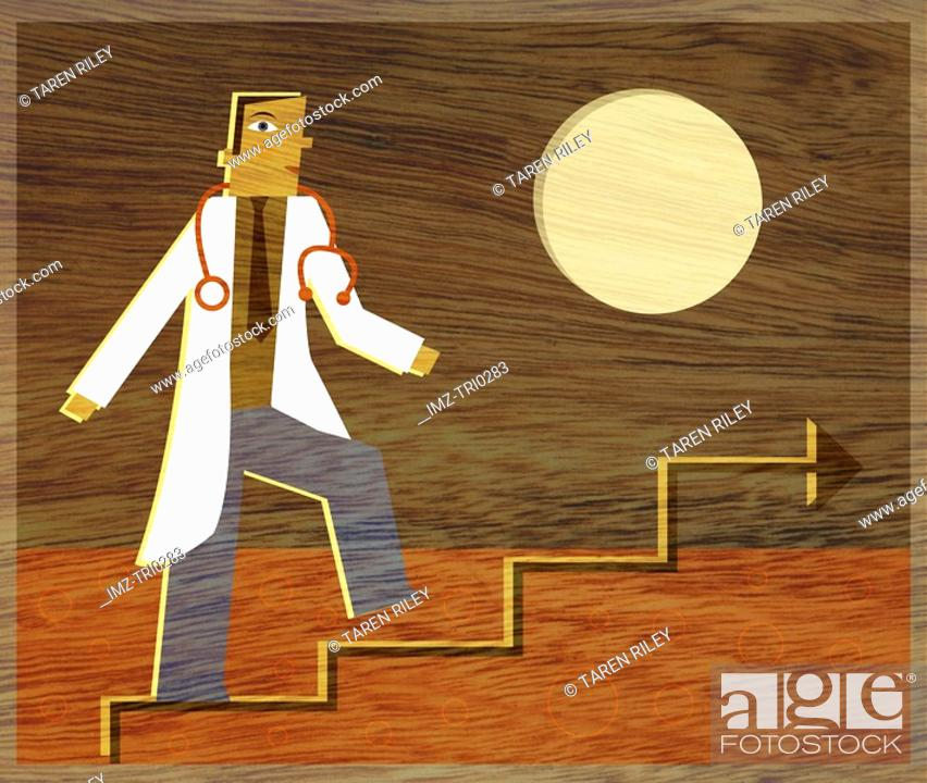 Stock Photo: A physician climbing a line graph that looks like stairs.