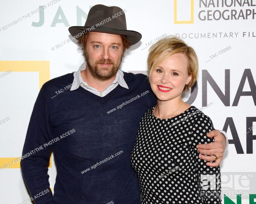 "Stock Photo: Joshua Leonard and Actress Alison Pill arrives at the Los Angeles Premiere of National Geographic Documentary Films' """"Jane"""" at the Hollywood Bowl in Hollywood."