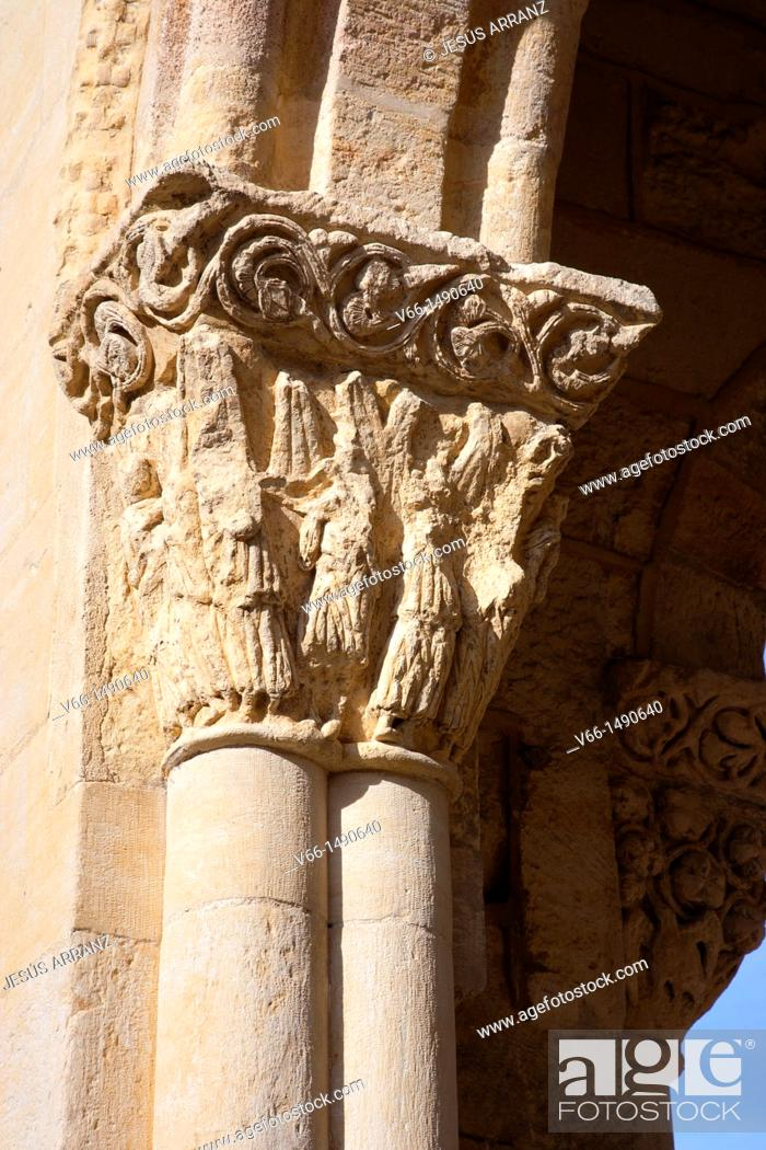 Imagen: capital of the portico of the Romanesque Church of San Lorenzo.