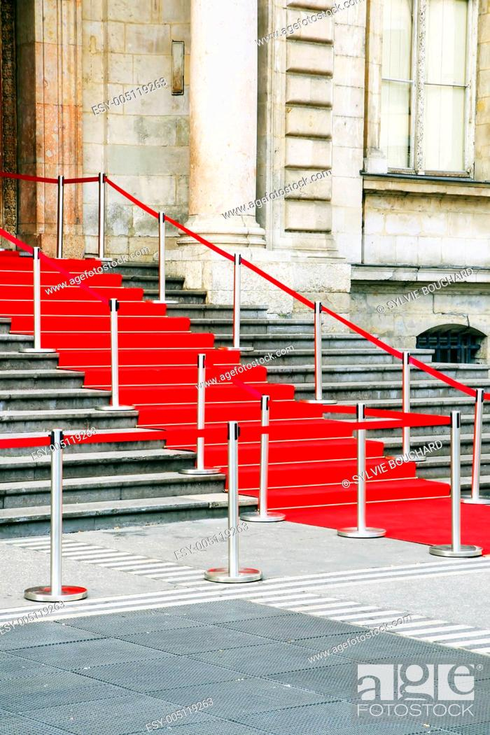 Stock Photo: Red carpet staircase.