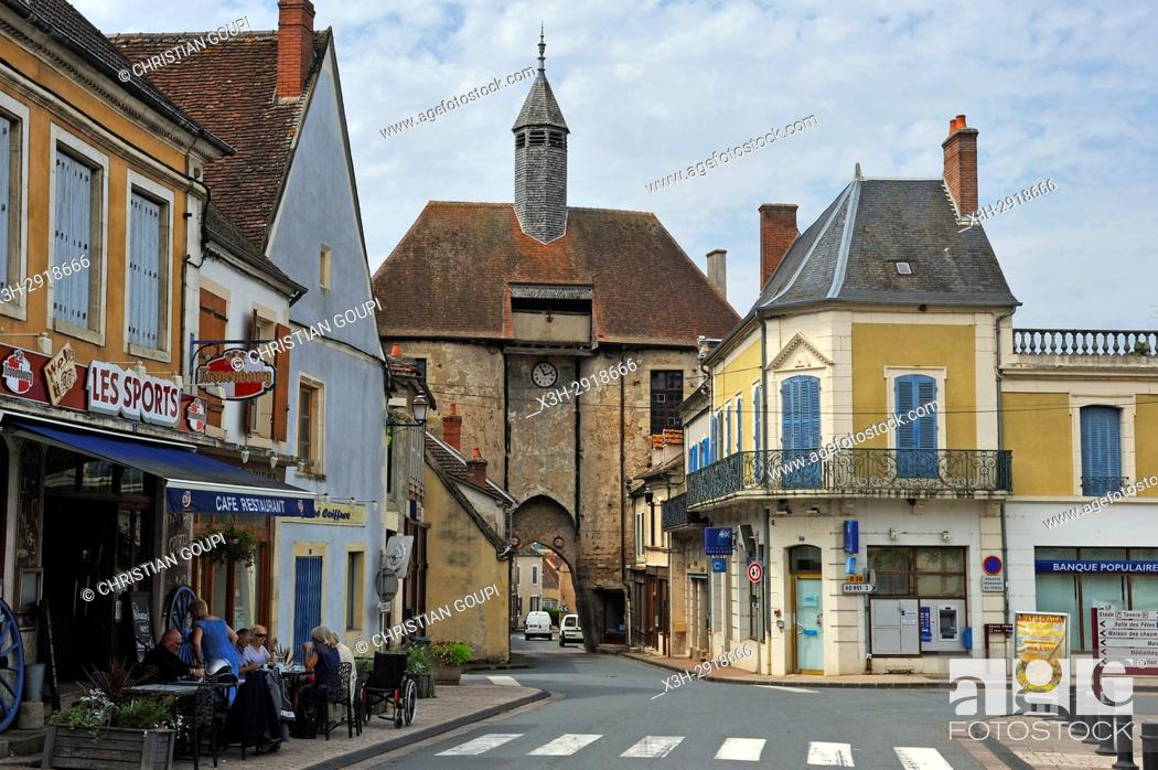 Stock Photo: Porte de l'horloge (clock's gate), Ainay-le-Chateau, Allier department, Auvergne-Rhone-Alpes region, France, Europe.