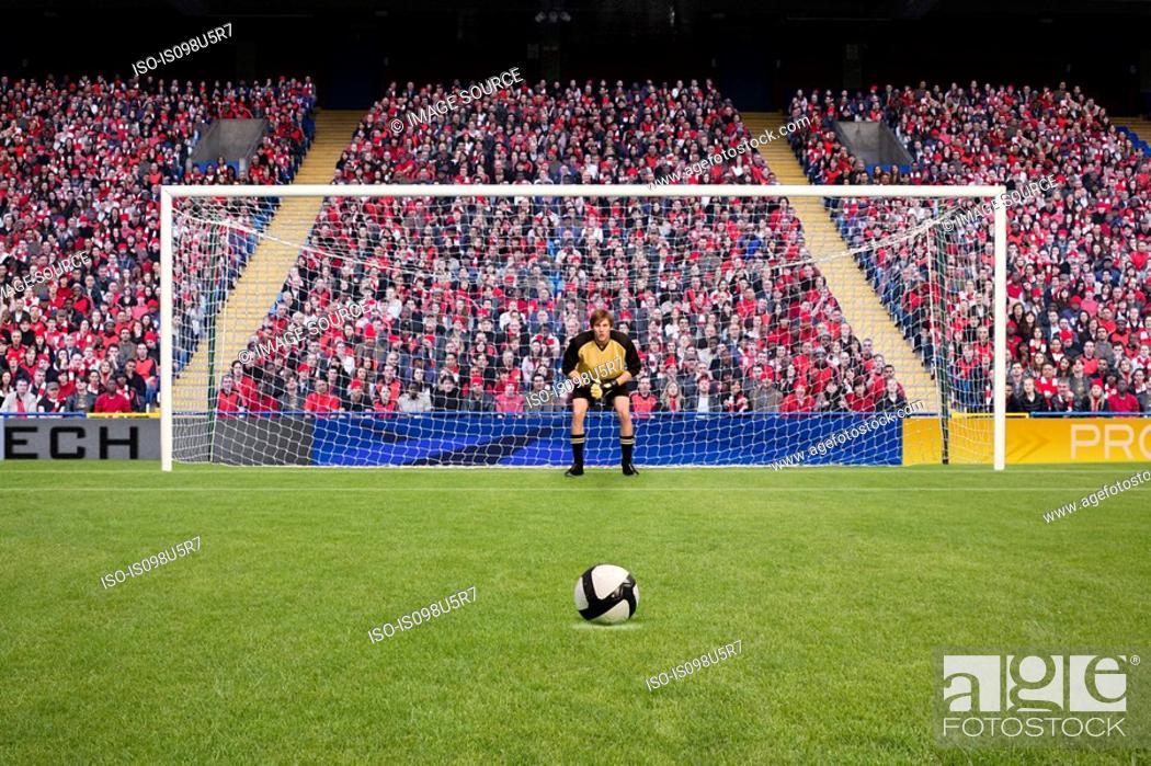 Stock Photo: Goalkeeper and football.